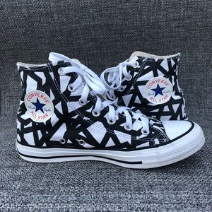 Converse Hi Tops White Black Unisex Sneakers W6 M8